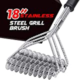 LT&PK Grill Brush BBQ Cleaning Scraper - 18'' Long Handle 3 in 1 Stainless Steel BBQ Grill Cleaning Brush - Barbecue Grill Cleaner for Porcelain,Propane,Infrared,Gas,Charcoal,Weber Grill