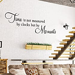 Letters Wall Decor Stickers Decoration Time is Not Measured by Clocks But by Moments Quotes Office Décor