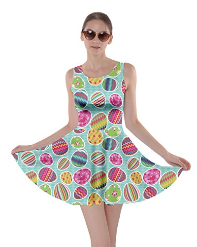 Colorful Easter Eggs Pattern Skater Dress
