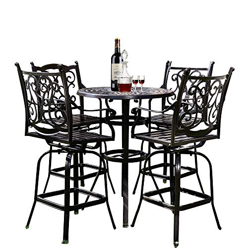 YUSING 5 Piece Patio Bistro Set,Cast Aluminum Antique Copper Outdoor Furniture Round Bar Height Dining Table and Swivel Chairs for Garden, Porch (4 x Chair + 1 x Table, Broze) ()