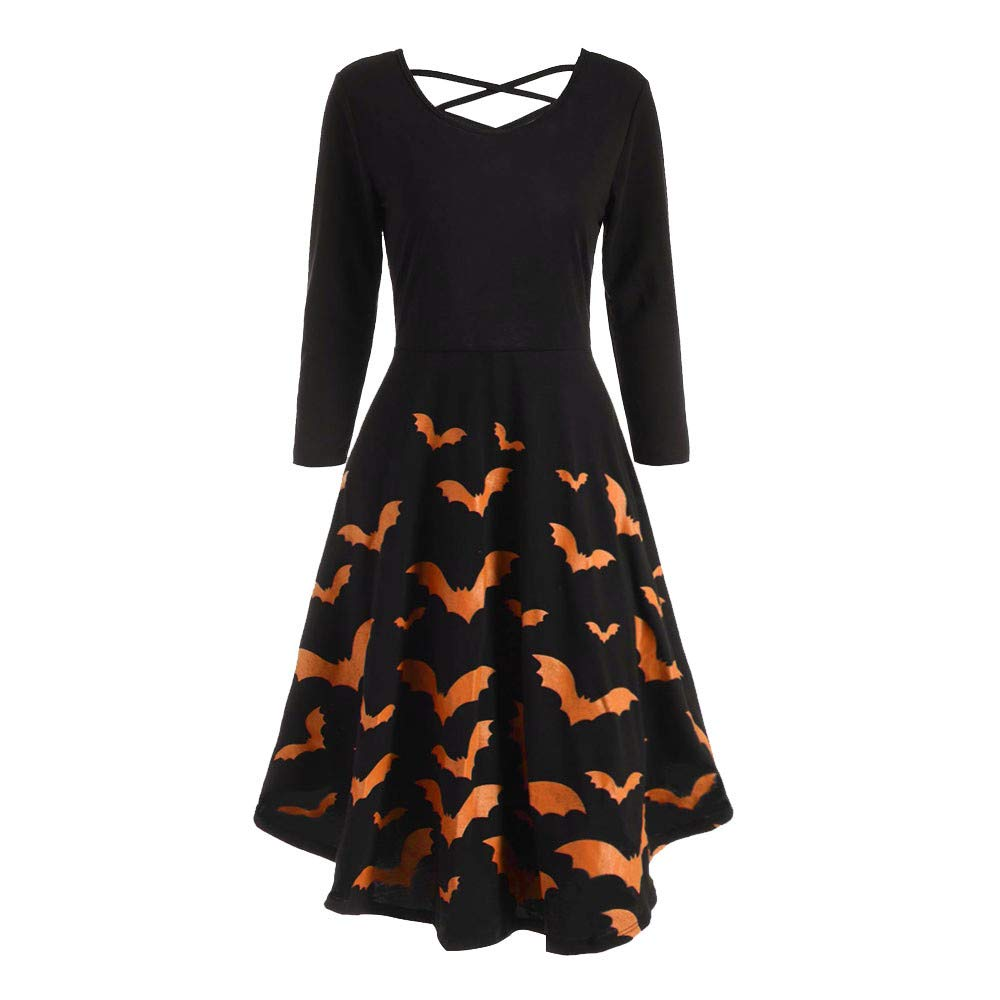 JESPER Women Long Sleeve Halloween Print Flare Dress for Women Bat Print Party Casual Orange