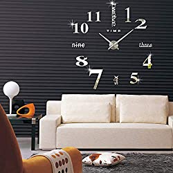3D DIY Wall Clock,Modern Frameless Large Sticker Mirror Wall Decorative Clocks for Home Living Room Bedroom Office Decoration (Silver 1)