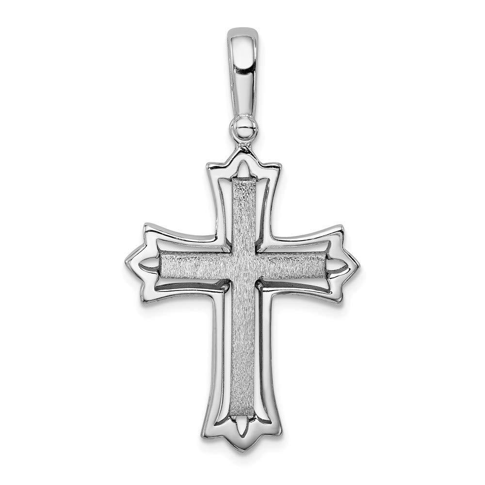 925 Sterling Silver Brushed Polished Cross Pendant