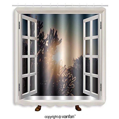 Vanfan designed Windows 241951015 Sunrise over the desert - Scottsdale,Arizona,USA Shower Curtains,Waterproof Mildew-Resistant Fabric Shower Curtain For Bathroom Decoration Decor With Shower - Scottsdale Outlet Arizona