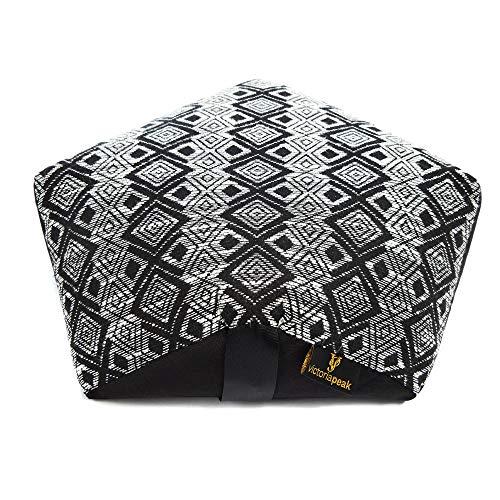 - Victoria Peak Natural Buckwheat Meditation Cushion, Handmade Polygon Shape Zafu Yoga Pillow, Carrying Back Belt Handle - Ergonomic Comfort for Best Posture - Washable Knitted Case - Black and White