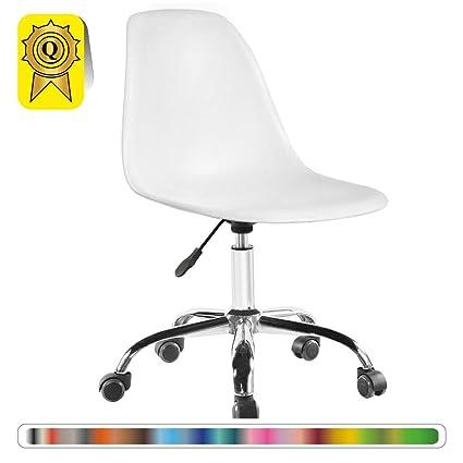 1p Decopresto 1 Wh Chaise Pieds Chrome Roulettes Blanc Dsoa Bureau X Réglable Hauteur Dp De Yg7vbfyI6m