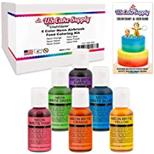 6 Color Cake Food Coloring Liqua-Gel Decorating Baking Neon Colors Set - U.S. Cake Supply .75 fl. Oz. (20ml) Bottles Neon Colors