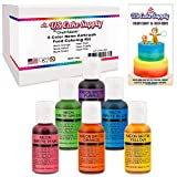 6 Color Cake Food Coloring Liqua-Gel Decorating Baking Neon Colors Set - U.S. Cake Supply .75 fl. Oz. (20ml) Bottles Neon Colors