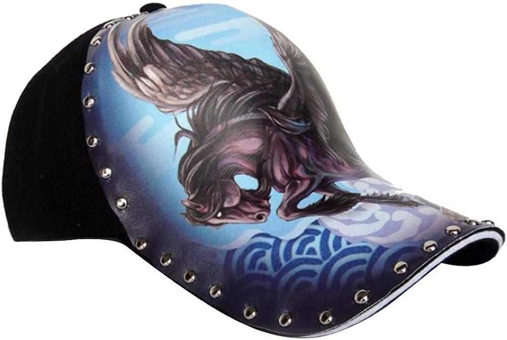 Kangqifen Unisex Personalized Baseball Cap Pegasus Printed Hat Adjustable Black