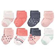 Luvable Friends Baby 8 Pack Newborn Socks, Girl Aztec, 6-12 Months