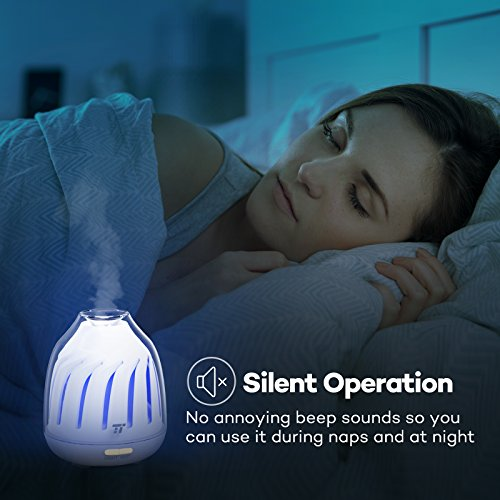 Diffuser, TaoTronics No Beep Sound Essential Oil Diffusers, Silent Operation 120ml Aromatherapy Diffuser for Kids (Breathing Light, 5 LED Colors, 2 Mist Modes with Ultrasonic, Waterless Auto Shut Off)