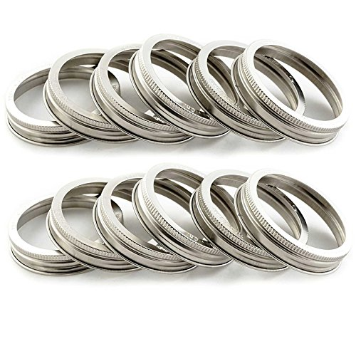 T&Co. STAMPED Stainless Steel Wide Mouth Mason Jar Replacement Rings/Bands/Tops - Durable & Rustproof - Set of 12 - For Pickling, Canning, Storage by Trellis & Co.
