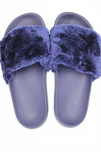 Zapatillas De Casa Newyoudirect Para Mujer, Sandalias De Piel Flip Flop Planas Para Interiores De Color Azul