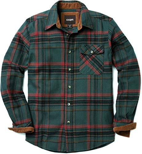 CQR Men's Flannel Long Sleeved Button-Up Plaid All Cotton Brushed Shirt, Plaid(hof110) - Rain Forest, Small