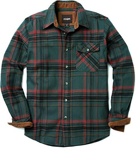 CQR CQ-HOF110-RNF_Large Men's Flannel Long Sleeved Button-Up Plaid 100% Cotton Brushed Shirt HOF110