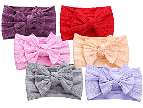 Qandsweet Baby Girl's Headbands with Hair Bow Soft Nylon Head Wrap (Deep Purple Red Pink Coral Gray ()