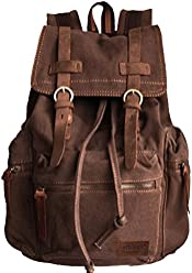 34aa84964917e Vintage Military Laptop Outdoor School Hiking Canvas   Genuine Leather  parts - Serbags Brand