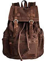 Vintage Military Laptop Outdoor School Hiking Canvas & Genuine Leather parts - Serbags Brand