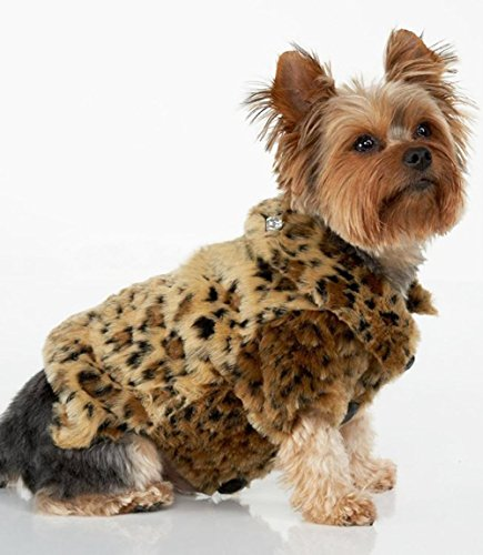Zehui Luxury Pet Dogs Coat Leopard Faux Fur Jacket Winter Clothes (M)