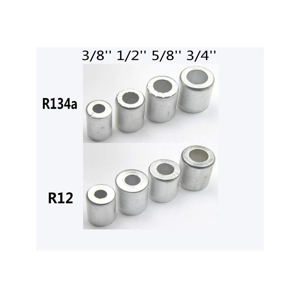 100pcs R12 R134 3//8/'/' 1//2/'/' 5//8/'/' 3//4/'/' Aluminium Crimp Ferrule  joint//A//C Hose