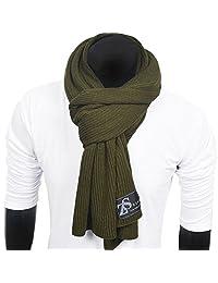 FORBUSITE Men Women Stripe Pure Color Knitted Scarf E5051