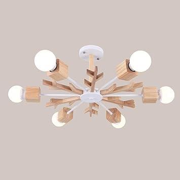 HAIZHEN Deckenlichter Einbauleuchten Kronleuchter, Kreative Einfache Holz Kronleuchter  Für Schlafzimmer Wohnzimmer Esszimmer
