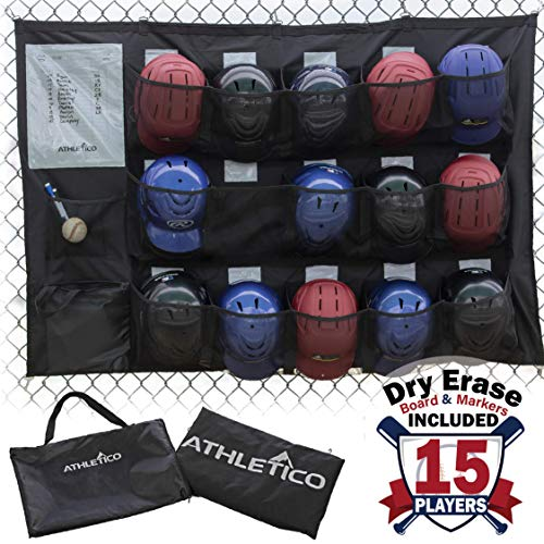 Worth Catchers Glove - Athletico 15 Player Dugout Organizer - Hanging Baseball Helmet Bag to Organize Baseball Equipment Including Gloves, Helmets, Batting Gloves, Balls, More