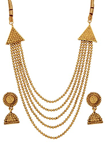 Bindhani Indian Jewelry Bollywood Traditional Gold Plated Wedding Bridal Necklace Earrings Set for Women