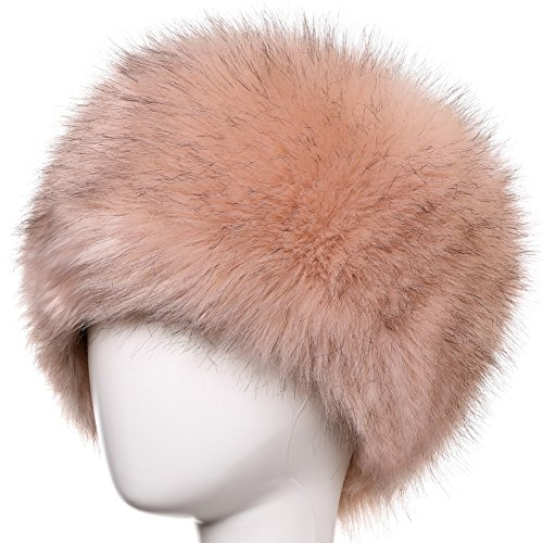 Dikoaina Faux Fur Cossack Russian Style Hat for Ladies Winter Hats for Women (S, Pink with Black tip)