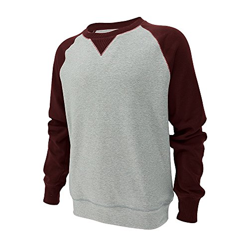 Heart Crewneck Sweatshirt - ORIENTAL HEART Men's Contrast Raglan Long Sleeves Fleece Crewneck Heather Sweatshirt (Large, Light Heather Gray/Cranberry Caviar)