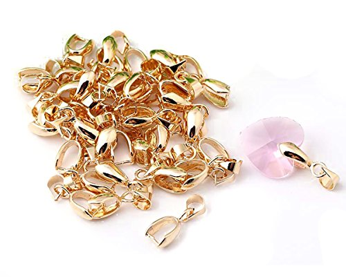 50 Pcs Copper Pinch Clip Clasp Bails Dangle Metal DIY Jewelry Findings Pendant Bail Bead Pendant Connector Necklace Clasps (KC Gold, 7 x -