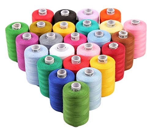 - ThreadNanny 25 Pcs Assortment Spools of 3-PLY Sewing Polyester Threads - Regular Colors(1100yards) for Hand and Machine Sewing
