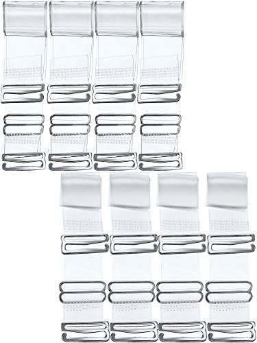 Hestya 8 Pairs Clear Bra Straps, Invisible Soft Clear Replacement Bra Shoulder Straps for Women (15 mm)