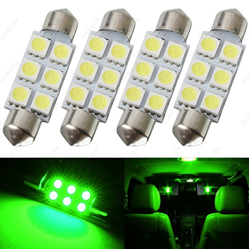 SAWE - 44MM 6-SMD 5050 Festoon Dome Map Interior LED Light Bulbs Lamp For 6411 578 211-2 212-2 (4 pieces) (Green)