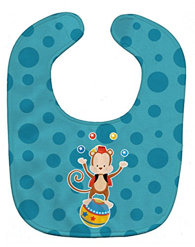 Caroline's Treasures Circus Monkey Baby Bib, Blue, Large