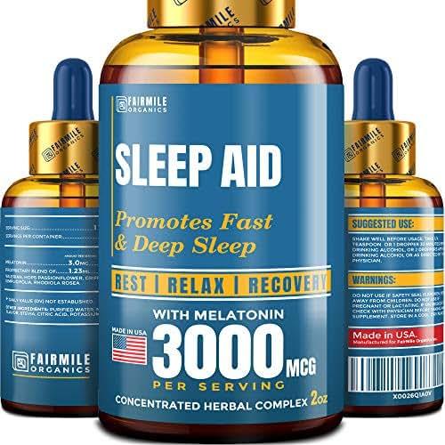 Natural Melatonin Liquid 3mg - Sleeping Aid for Adults - Extra Strength - Made in USA - Genius Sleep Aid Melatonin Drops - Faster Absorption Than Sleeping Pills
