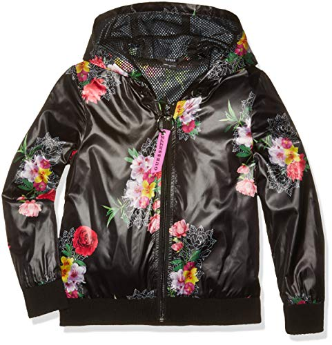 GUESS Girls' Big Floral Logo Graphic Zip UP Hoodie, Roses Boulevard Black, 12 (Guess Zip Up Jacket)