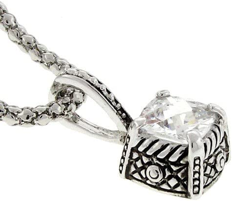 Antiqued Designer-Inspired Necklace Square White CZ