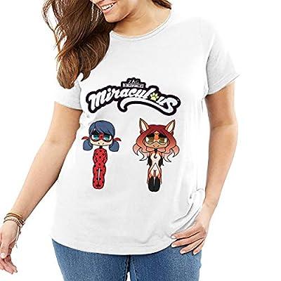 BOSIJCAI Plus Size Personalized Chibi Ladybug and Rena Rouge T Shirts O-Neck 100% Cotton for Women White
