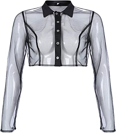 junkai Sexy Mesh See Through T-Shirt Tops Mujer Malla Manga Larga Turn Down T-Shirt Camisa de botón Transparente: Amazon.es: Ropa y accesorios