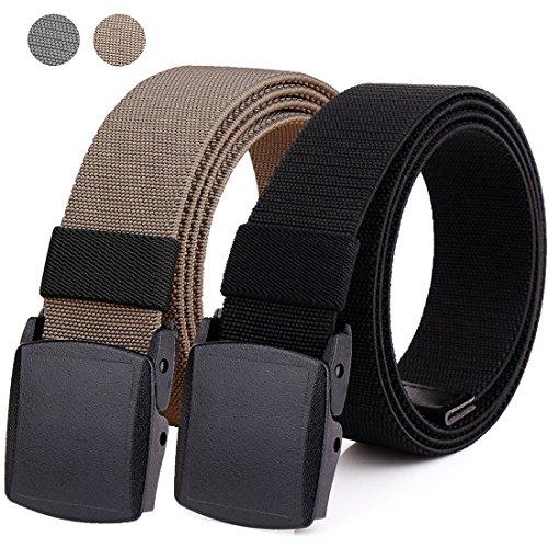 Hoanan 2-Pack Elastic Stretch Belt, Men's No Metal Nylon Tactical Hiking Belt(black/brown-up to (Nylon Stretch Belt)