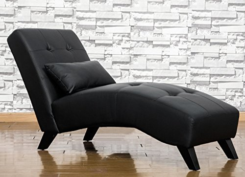 Merax Modern Chaise Lounge Chair Black Leatherette Leisure S