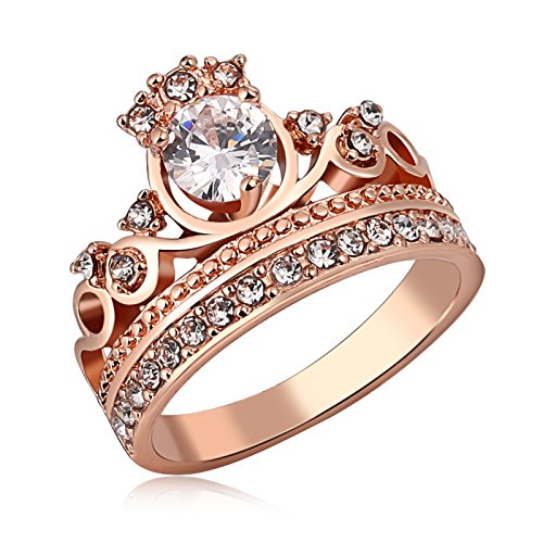 MoAndy Crown Ring Sparkles Crystal Rose Gold Rings for Women Girl