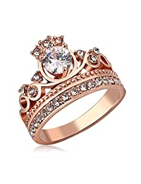 Moandy Jewelry Rings 18K Gold Plated Cubic Zirconia Crystal Princess Crown Tiara Ring For Her