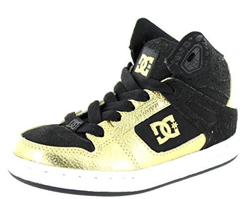 DC Shoes Boys Rebound Hi Skate Shoe, Black/Gold, 4 M US - Dc Shoes High For Kids