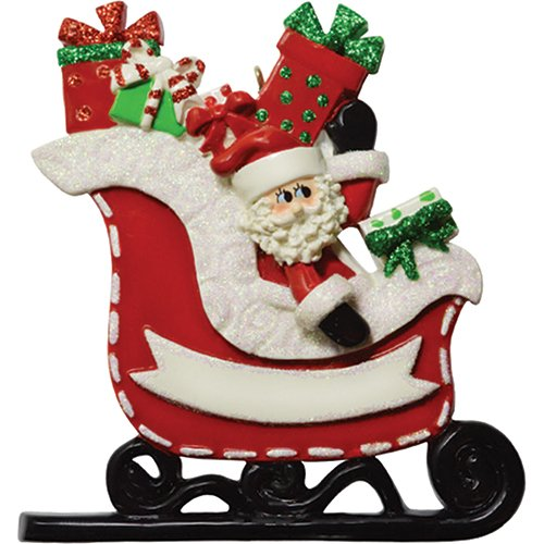 (Personalized Santa's Gift Sleigh Christmas Tree Ornament 2019 - Papa Claus Suit Hat Bring Present Red Sled Tradition Baby First Gender Nursery 1st Visit Grand-Kid Son Daughter - Free Customization)
