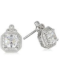 Platinum-Plated Sterling Silver Asscher-Cut Swarovski Zirconia Antique Earrings (4.5 cttw)