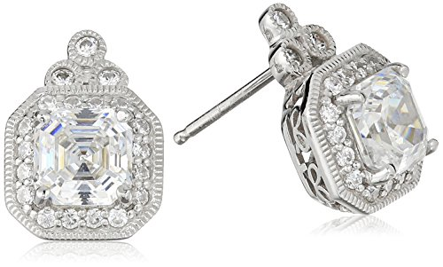 Platinum-Plated Sterling Silver Asscher-Cut Swarovski Zirconia Antique Stud Earrings (4.5 cttw) (Asscher Stud)