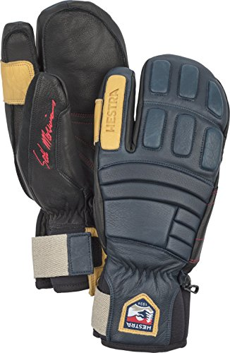 Hestra Waterproof Ski Gloves: Mens and Womens Pro Model Leather Winter 3-Finger Mitten, Navy, 8