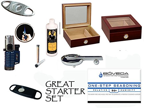 $62.99 cheap humidor 50 Count Cigars Glasstop Cherry Humidor Cutters Lighter Cigar Caddy Gift Set & Calibration Kit 2019